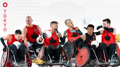 The Canadian wheelchair rugby team for the Tokyo 2020 Paralympic Games will feature 12 players including (L-R): Patrice Dagenais, Zak Madell, Mike Whitehead, Trevor Hirschfield, Travis Murao, and Cody Caldwell. PHOTO: Canadian Paralympic Committee (CNW Group/Canadian Paralympic Committee (Sponsorships))