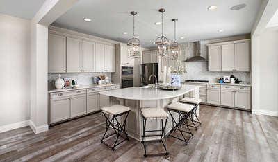 The well-appointed kitchen of the Hemingway, one of two new Richmond American models making their debut at Hopyard Farm in King George, Virginia.